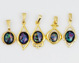 Five  Bright  natural Opal pendants  OPJ 1054
