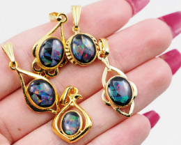 Five  Bright  natural Opal pendants  OPJ 1055