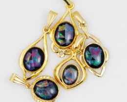 Five  Bright  natural Opal pendants  OPJ 1056