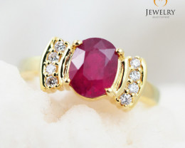 RUBY CERTIFIED 9K Yellow Gold & Diamonds Ring - RV 1407