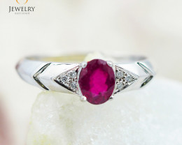 RUBY 18K White Gold & Diamonds Ring - RV10