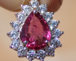 Rubellite or Red Tourmaline 1.70ct,Solid 925 Sterling Silver,White Gold Fin