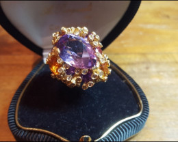 18k Gold Ring Diamonds Topaz and Amethyst Made in Italy