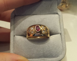 Made in Italy 18k Solid Gold Ruby and Diamonds Ring