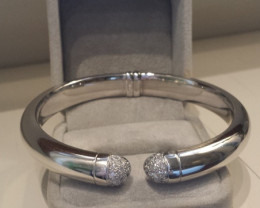 Made in Italy 18k Solid white Gold Bracelet with diamonds