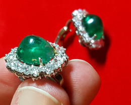 Made in Italy Earrings with Huge Emeralds  and 5.6ct Diamonds