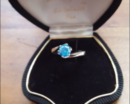 18Ct solid white Gold Solitaire Ring with natural blue diamond