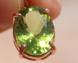 Peridot 3.00ct, Solid Sterling Silver Pendant, Rose Gold Finish, Natural, O