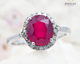 RUBY CERTIFIED 9K White Gold & Diamonds Ring - R A1410