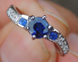 Royal Blue Kayanite with Sapphire in Silver