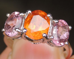 Spessartite & Pink Tourmaline in Silver