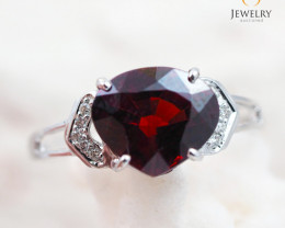 GARNET NATURAL 18K White Gold & Diamonds Ring - RG 1505