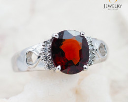 GARNET NATURAL 18K White Gold & Diamonds Ring - RG 1511