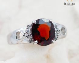 GARNET NATURAL 18K White Gold & Diamonds Ring - RG 1511