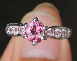Pink Garnet w/ Graduated Pink Sapphires in Silver