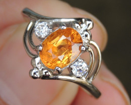 Fanta Spessartite with Sapphires in Silver