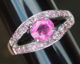 Rubelite with Pink Sapphire in Silver