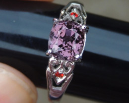 Burma Spinel w/ Red Tourmaline in Silver