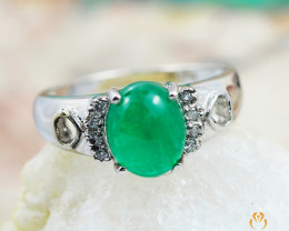 EMERALD CERTIFIED 18K White Gold & Diamonds Ring - RE V888