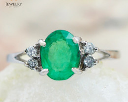 EMERALD CERTIFIED 18K White Gold & Diamonds Ring - RE V66A
