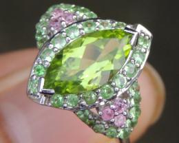 Peridot w/ Tsavorite & Sapphire in Silver