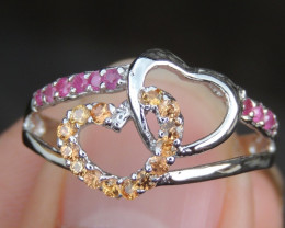 Pink Sapphire and Tsavorite in Silver