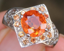 Mandarin Garnet with Sapphire in Silver
