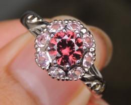 Pink Zircon w/ Sapphire in Silver