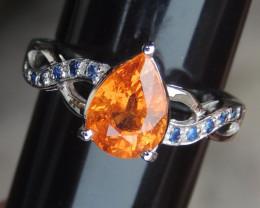 Mandarin Garnet w/ Sapphires in Silver