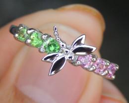 Tsavorite w/  Pink Sapphires in Silver