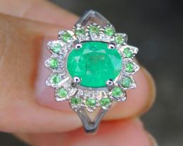 Emerald w/ Tsavorite in Silver