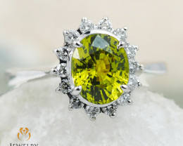 GROSSULAR GARNET CERTIFIED 18K White Gold & Diamonds Ring - RG V24