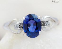SAPPHIRE CERTIFIED 18K White Gold & Diamonds Ring - RSV