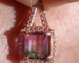 Watermelon Tourmaline 1.25ct,Solid 925 Sterling Silver,Rose Gold Finish Pen