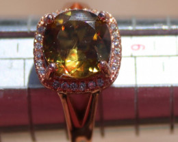 Sphene or Titanite 2.15ct, Solid 925 Sterling Silver, Rose Gold Finish Ring
