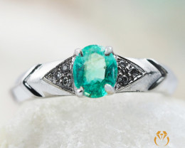 EMERALD AUSTRALIA 18K White Gold & Diamonds Ring - REV10