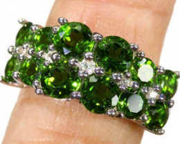 25.55 CTS DIOPSIDE SILVER RING SIZE-7.5  SG-1333