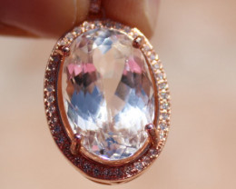 Kunzite 12.00ct, Solid 925 Sterling Silver, Rose Gold Finish Pendant, Natur