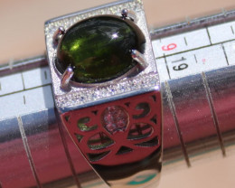 Cats Eye Green Tourmaline 3.65ct Solid 925 Sterling Silver White Gold Finis