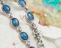 Modern Design 10pc  Oval  Opal Triplet Bracelet OPJ 1057