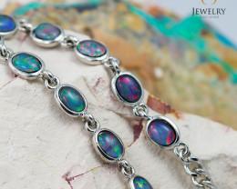 Modern Design 10pc  Oval  Opal Triplet Bracelet OPJ 1068