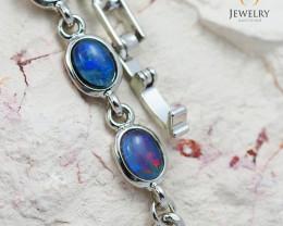 Modern Design 10pc  Oval  Opal Triplet Bracelet OPJ 1069