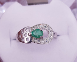 Natural Emerald Ring with small Zircons.