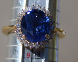 Tanzanite 7.00ct Natural Diamonds 18K Solid Yellow Gold Cocktail Ring,Certi