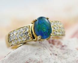 Australian  Opal Triplet  ,Diamantie  Ring size 7.5OPJ 1073