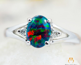 Opal Triplet set in S18k white gold ring size 7 - RO4