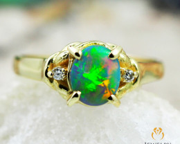 Opal Triplet set in 18k yellow gold ring size 5 - RO5