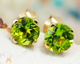 14 K Yellow Gold Peridot Earrings 29 - D E4046 1350
