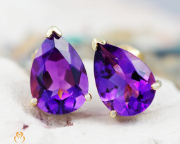 14 K Yellow Gold Amethyst Earrings 31 - D E735A 2000