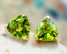 14 K Yellow Gold Peridot Earrings 32 - D E3489 1350